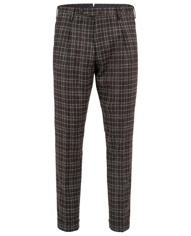 Pantalon à carreaux en laine vierge Super 110's PT01