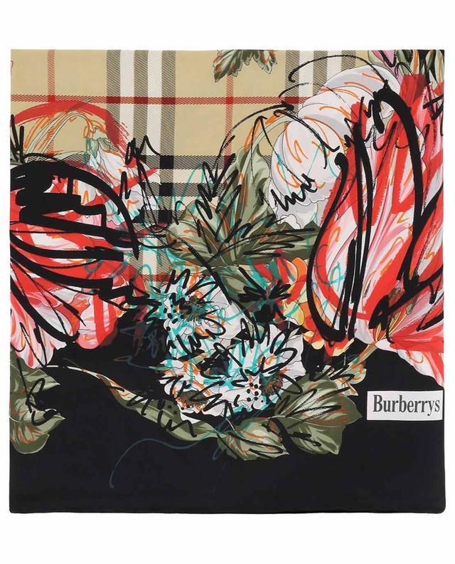 BURBERRY Carré de soie Scribble Floral Vintage Check - Bongénie-Grieder 8050aac69b3
