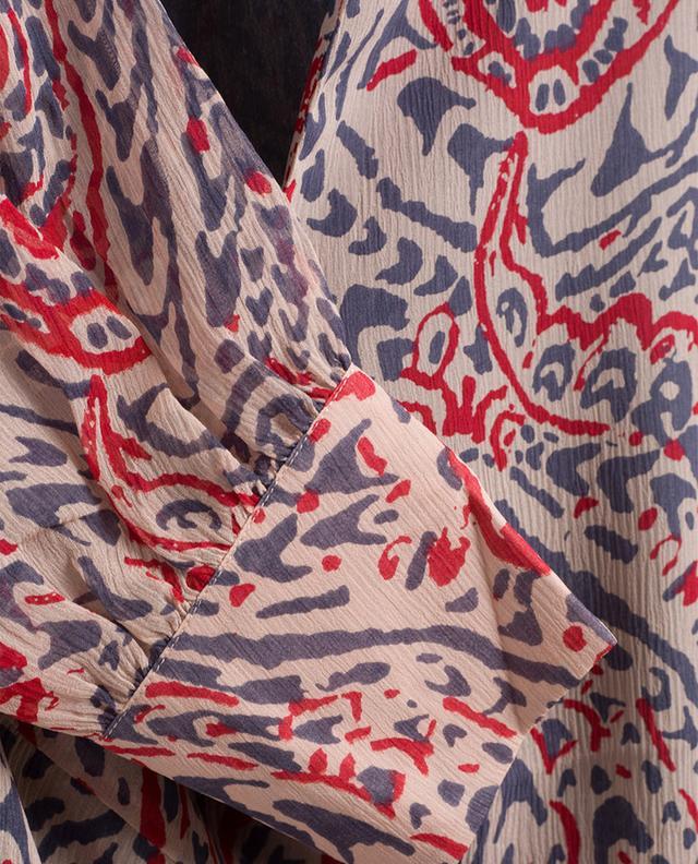 Mittellanges Kleid aus Seide mit Print HEMISPHERE