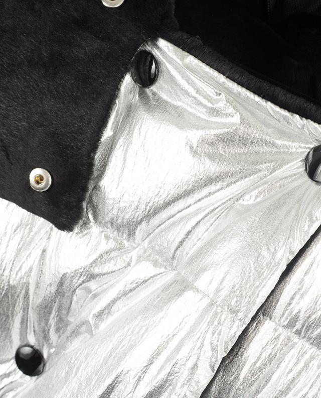 Silberne Daunenjacke mit Kaninchenpelz YVES SALOMON