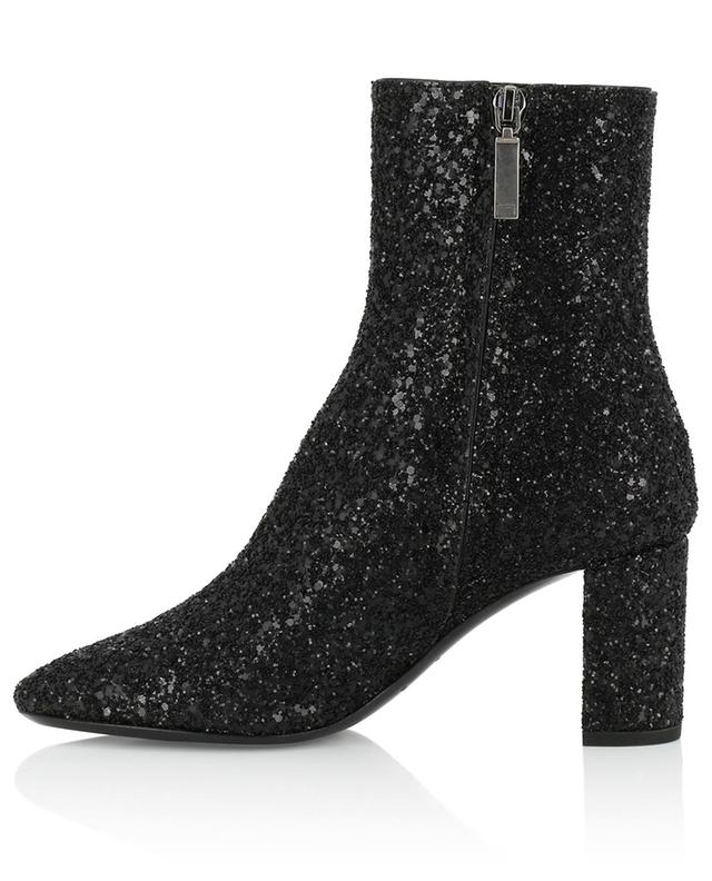 Loulou 70 leather and glitter ankle boots SAINT LAURENT PARIS