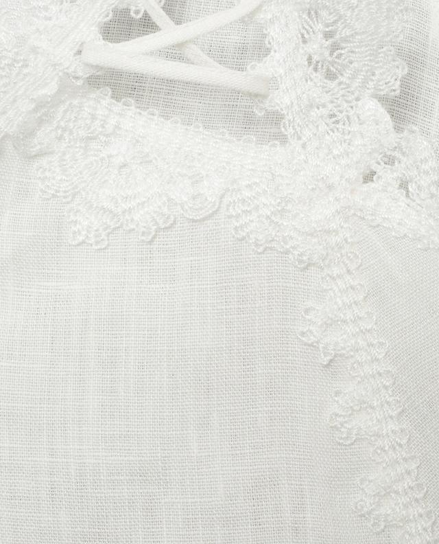 Linen top with embroideries and lacing ERMANNO SCERVINO