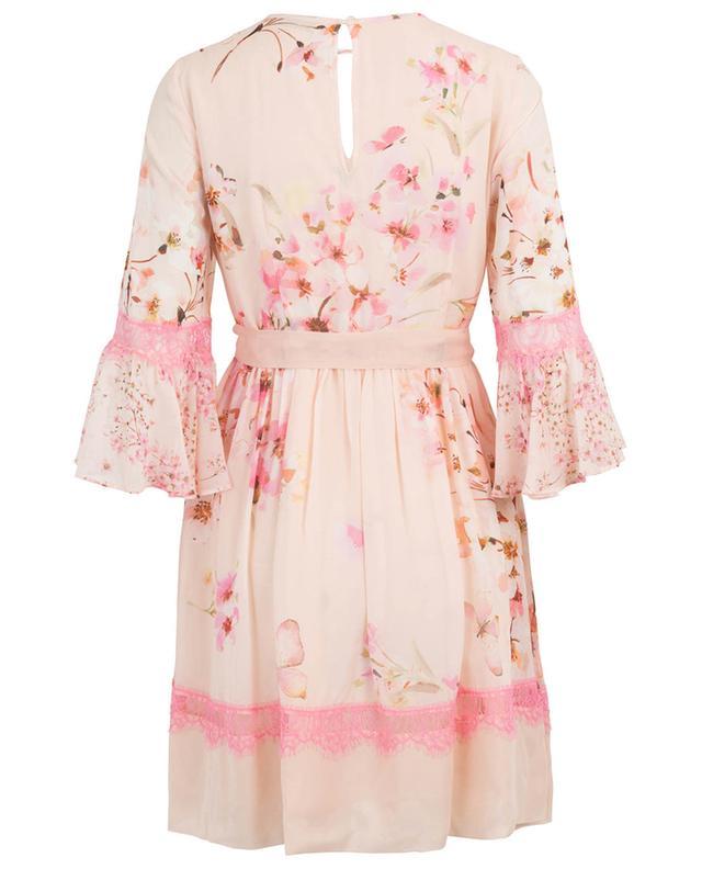 Kurzes geblümtes Kleid mit Spitze TWINSET