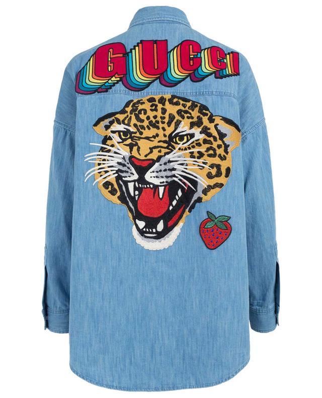 c193b3b88ad GUCCI Leopard embroidered jeans shirt - Bongénie-Grieder