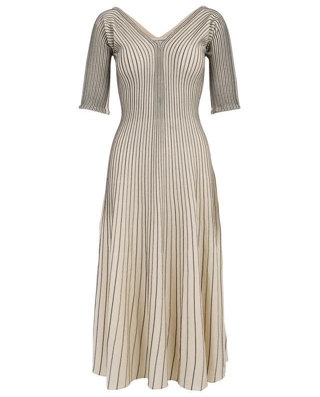 f6507962667 SONIA RYKIEL Pleated Lurex stripe knit dress - Bongénie-Grieder