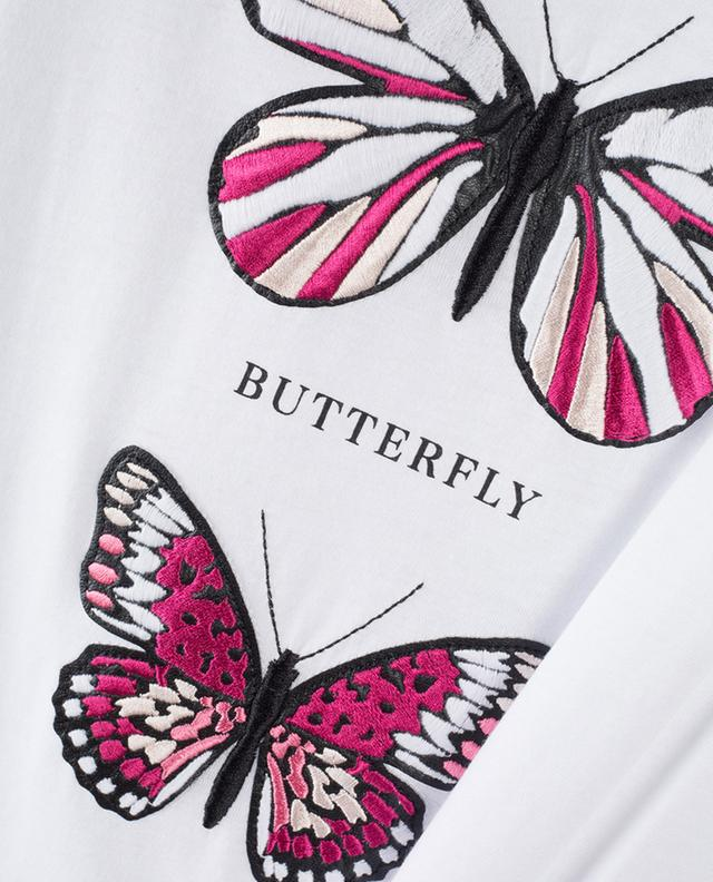 Butterfly Dreams embroidered slogan T-shirt QUANTUM COURAGE
