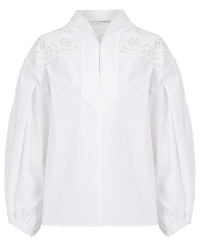 Laser cut-outs adorned popeline cotton blouse PHILOSOPHY
