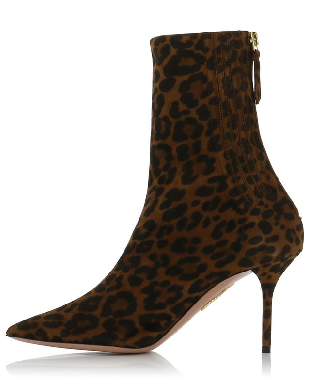 Saint Honore' 85 jaguar print suede ankle boots AQUAZZURA