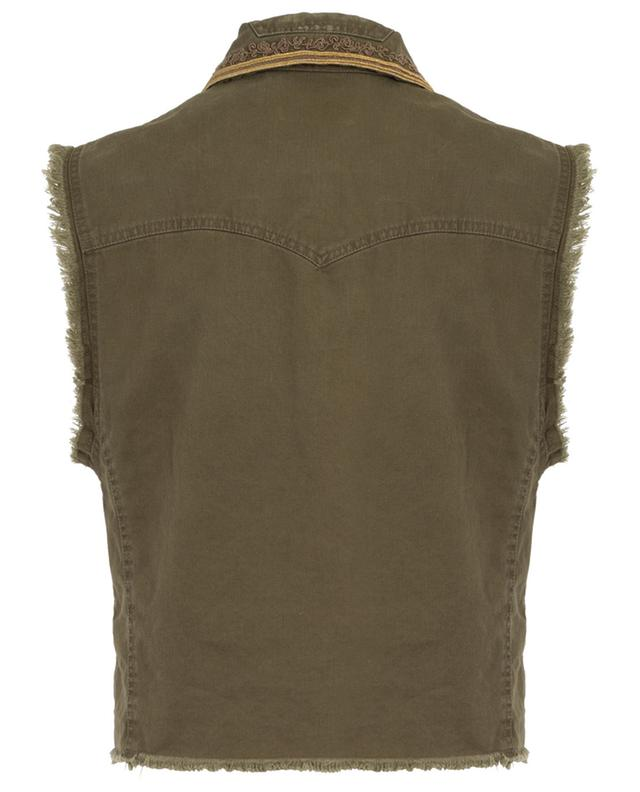 Ärmellose Gabardine-Jacke mit goldenen Borten SAINT LAURENT PARIS