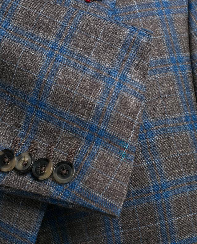 Karierter Blazer aus Wolle, Seide und Leinen ISAIA