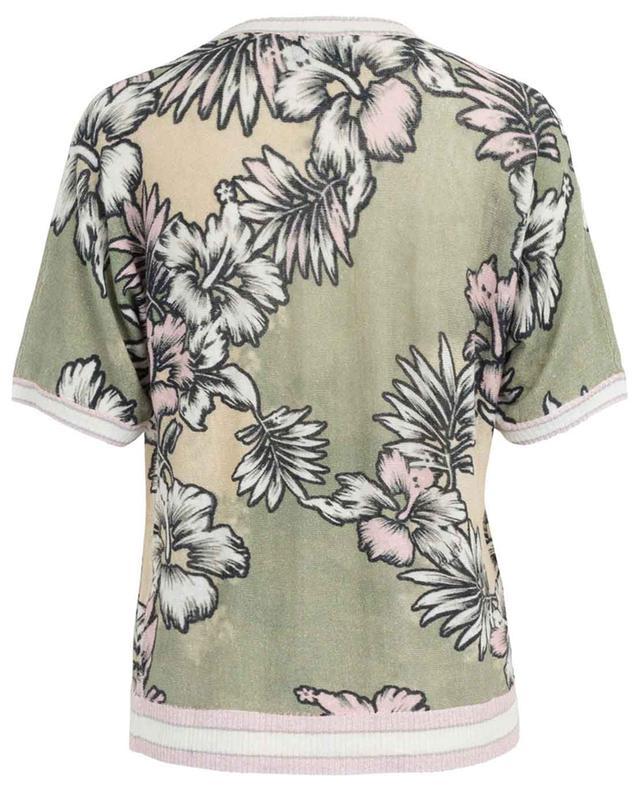 Pull en lin motif Hawaii à manches courtes PRINCESS