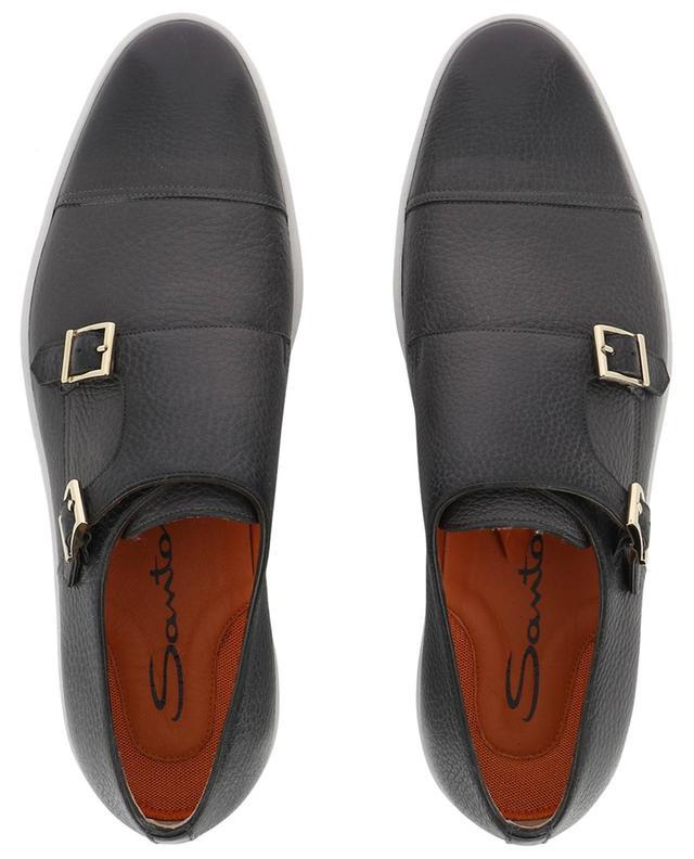 Grained leather monk-strap sneakers SANTONI