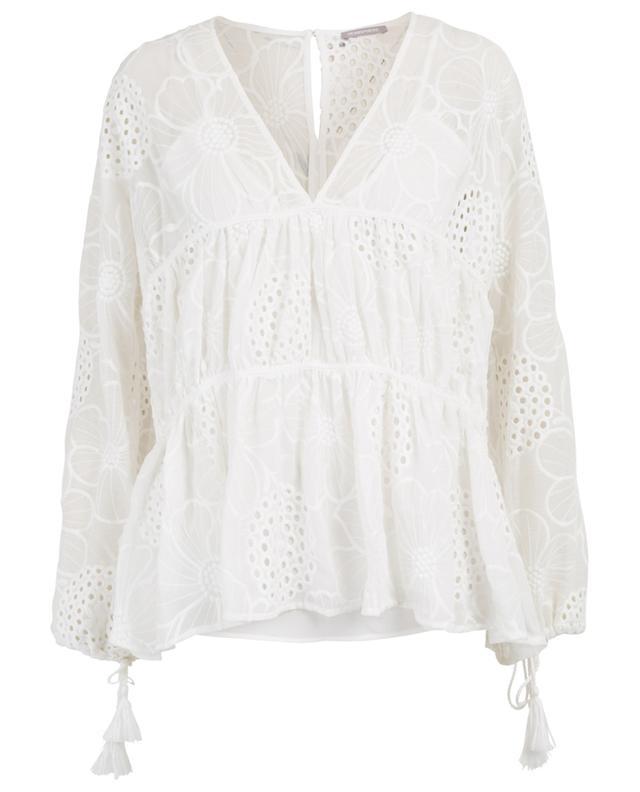 Chia openwork stitching embellished blouse HEMISPHERE