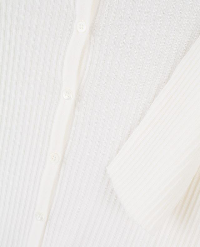 Cardigan boutonné évasé en maille fine et côtelée HEMISPHERE