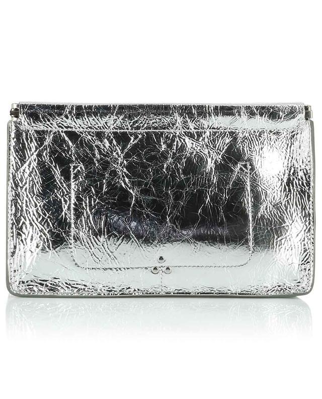 Clic Clac L silver leather clutch JEROME DREYFUSS