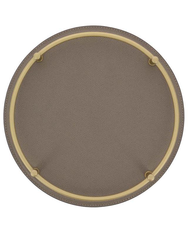 Rondo' round leather and metal tray GIOBAGNARA