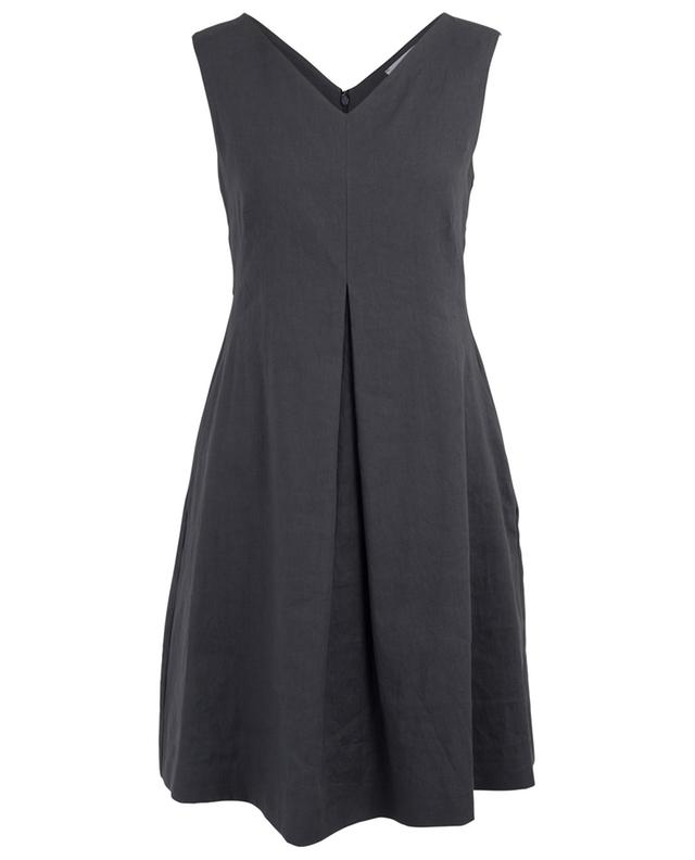 Sleeveless linen blend dress with pleat FABIANA FILIPPI