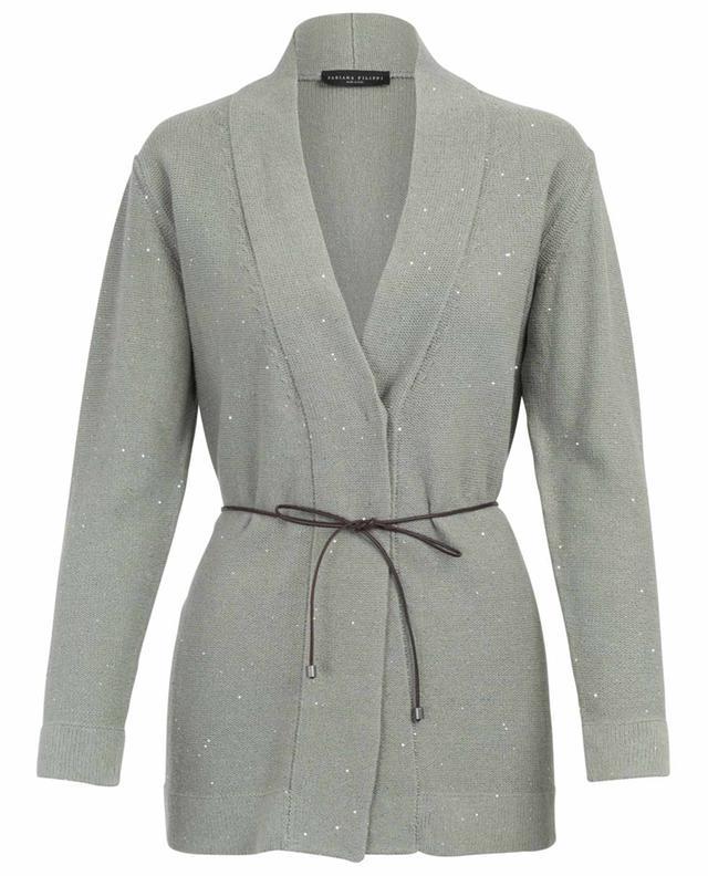 Sequin embroidered belted cardigan FABIANA FILIPPI