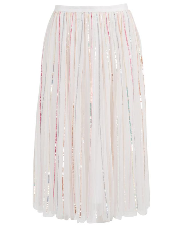 45cb932ebb NEEDLE &THREAD Shimmer Midaxi sequined tulle midi skirt - Bongénie ...