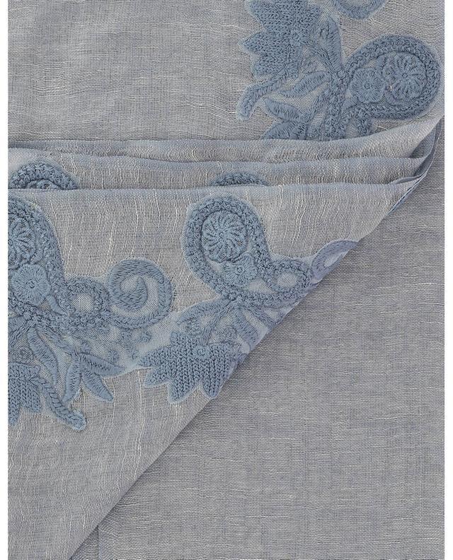 Écharpe en lin mélangé brodée de fleurs 01 MAX ET MOI