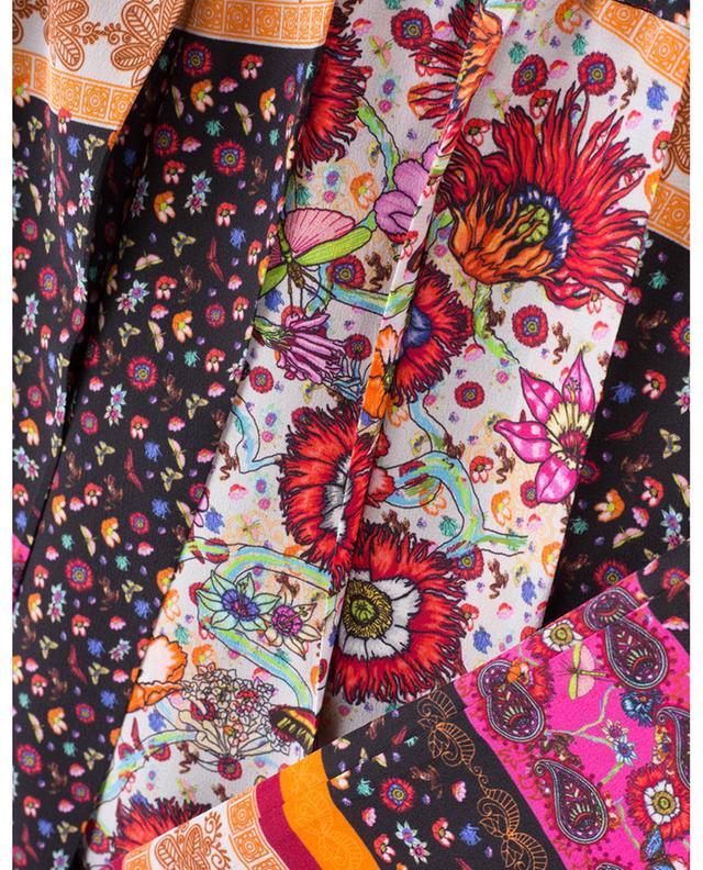 Pleated printed silk skirt PEECH