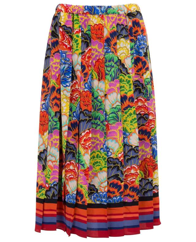 Pleated floral print silk skirt PEECH