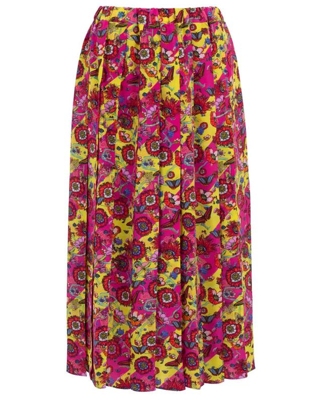 Printed silk pleated skirt PEECH