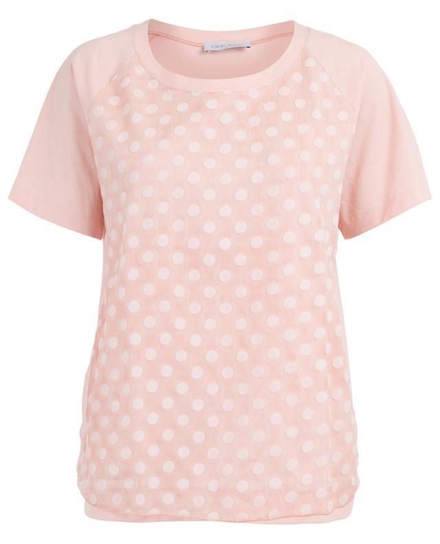Polka dot silk embellished jersey T-shirt GRAN SASSO