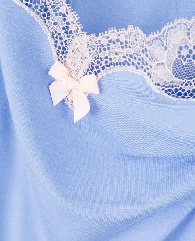 Caraco en modal mélangé orné de dentelle Lisa BLUE LEMON