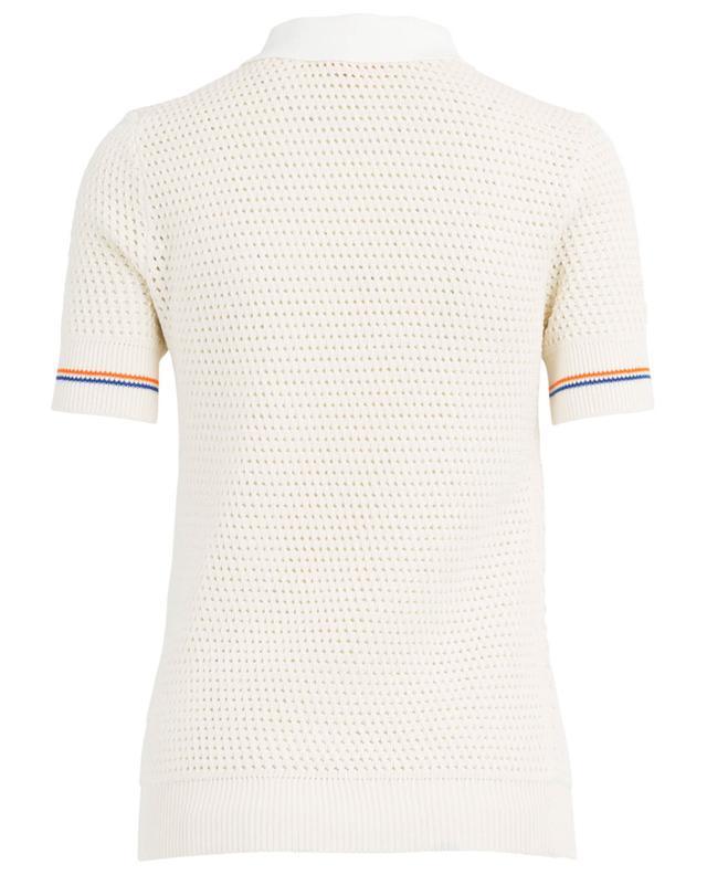 Mesh openwork knit polo shirt TORY BURCH