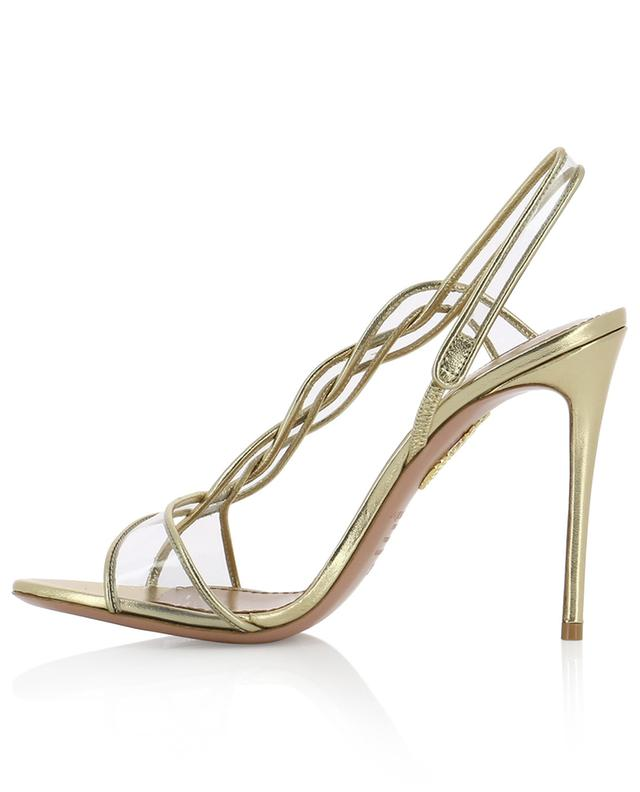 Sandales en cuir doré et PVC Swing 105 AQUAZZURA