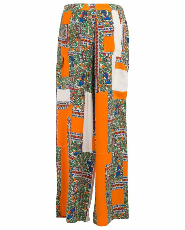 Cargo printed wide-leg silk trousers TORY BURCH