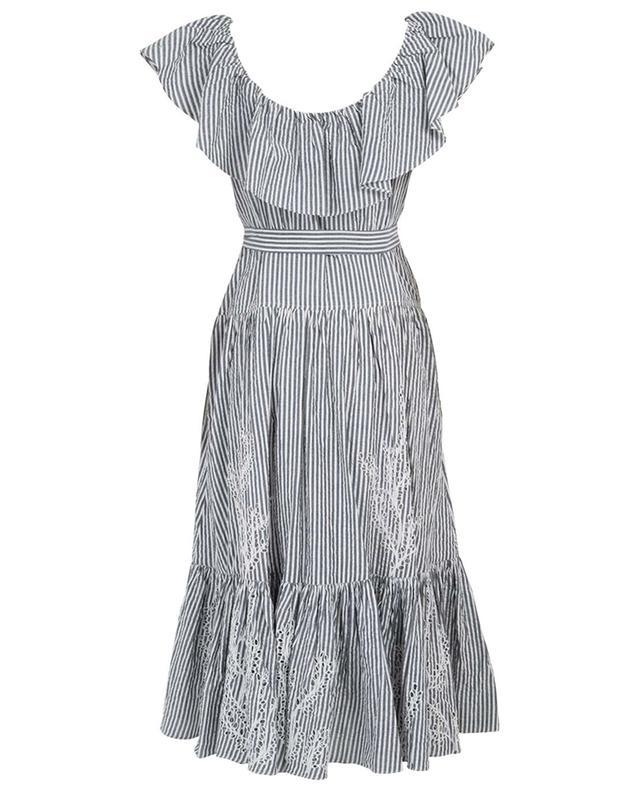 Eyelet striped openwork stitching dress TORY BURCH