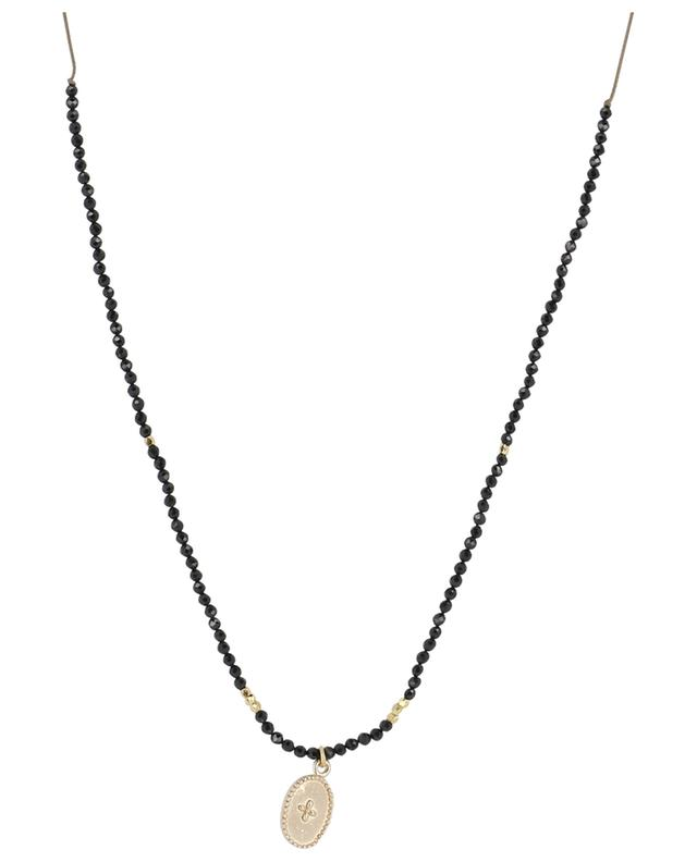 Cord necklace with spinel and medallion BY JOHANNE