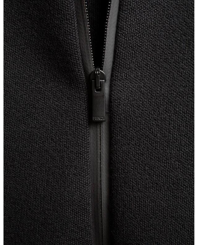 Cardigan zippé en laine logo FF FENDI
