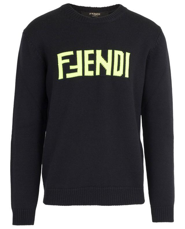 Pull en laine vierge logo fluo FENDI