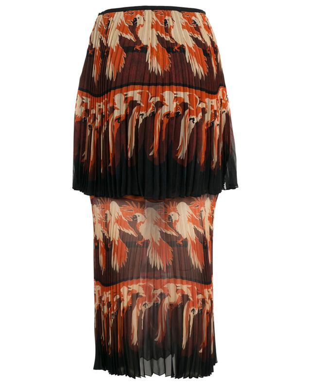 Jupe plissée en soie imprimée perroquet FENDI