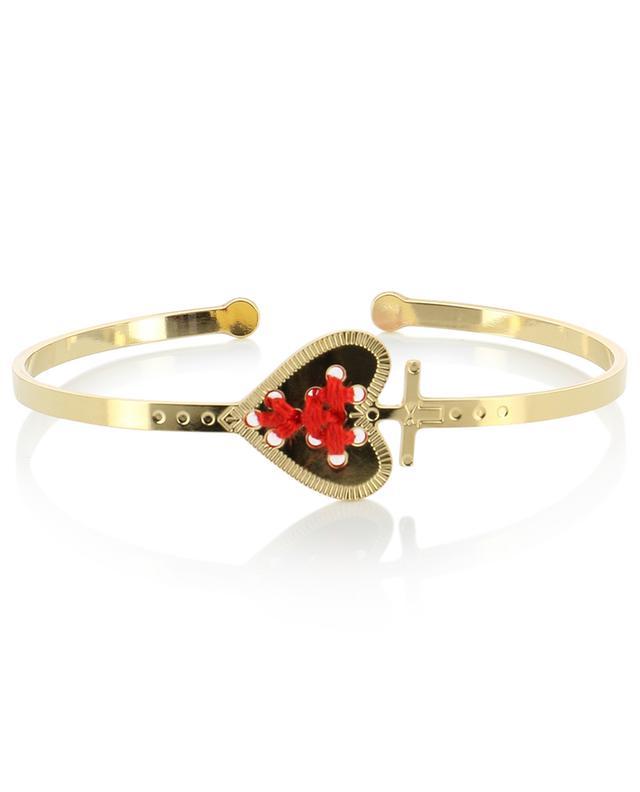 Alpha gold-plated heart adorned bangle bracelet CAMILLE ENRICO