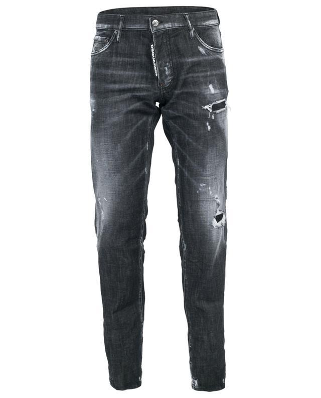 Ausgewaschene schwarze Used-Look-Jeans Slim DSQUARED2