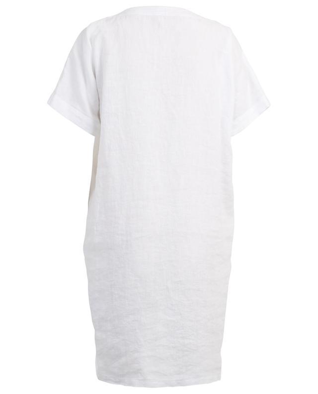 Robe droite en lin brodée de feuillage 120% LINO