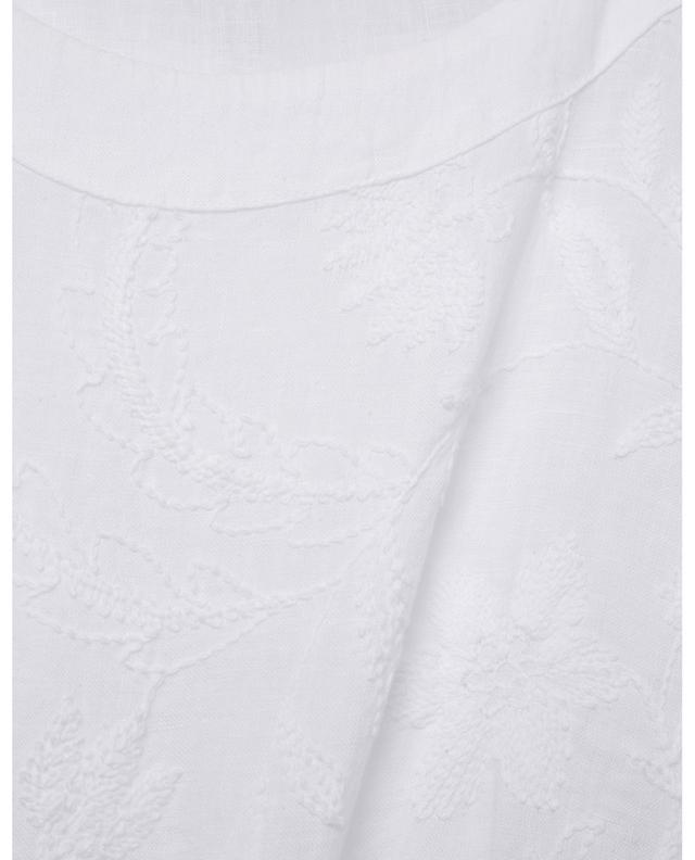 Foliage embroidered straight linen dress 120% LINO