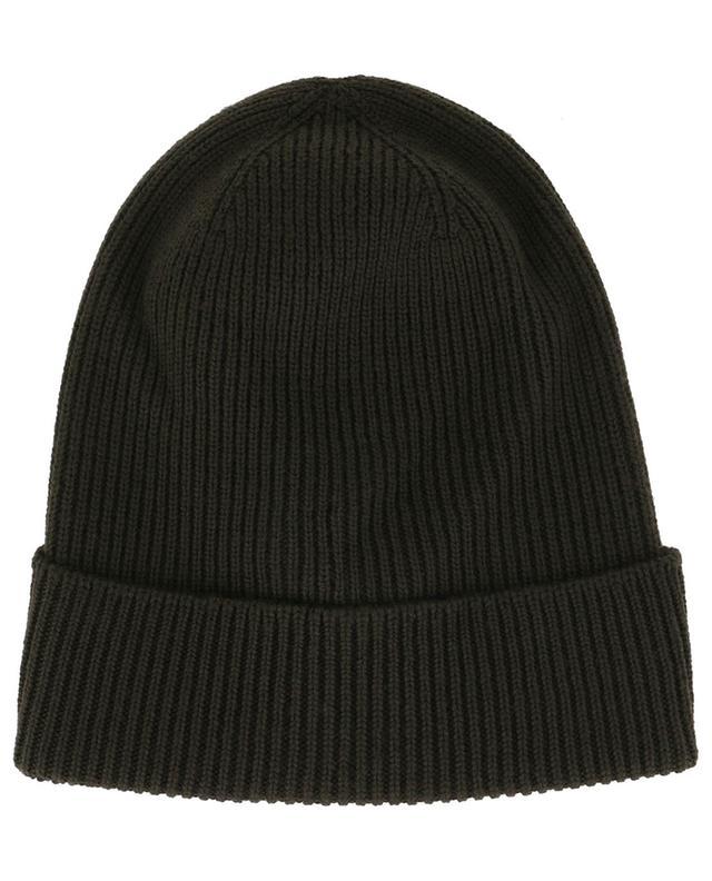 Bonnet côtelé en laine vierge patch logo MONCLER