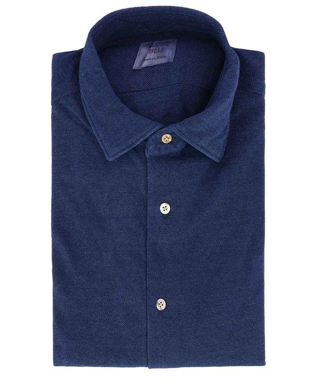 Blu piqué cotton shirt MAZZARELLI