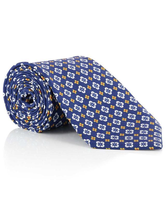 Cravate imprimée fleurs en soie BORRELLI
