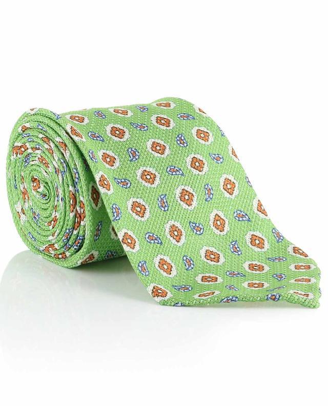 Cravate en soie et lin imprimés LUIGI BORRELLI