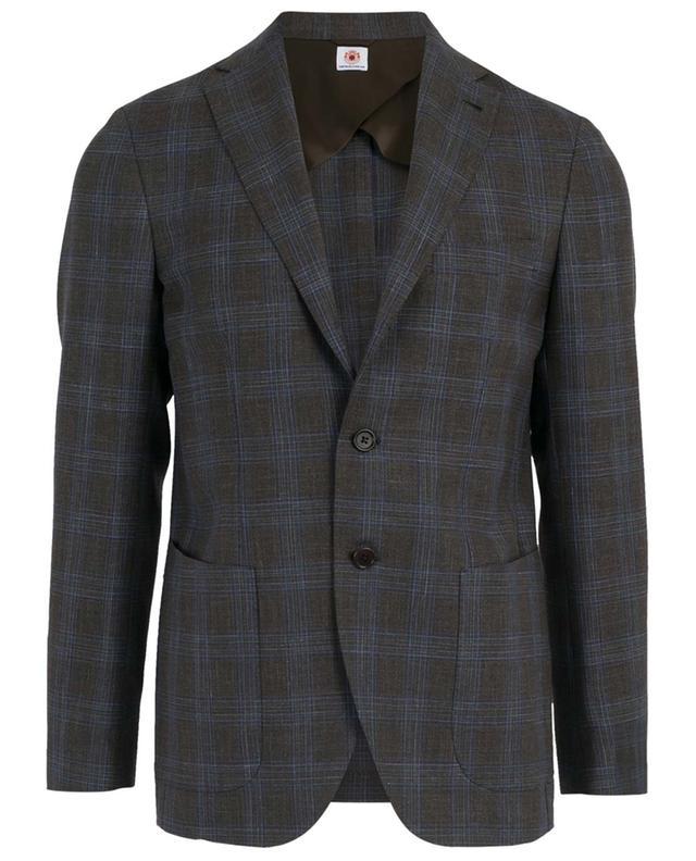 Check virgin wool, silk and linen blazer BORRELLI