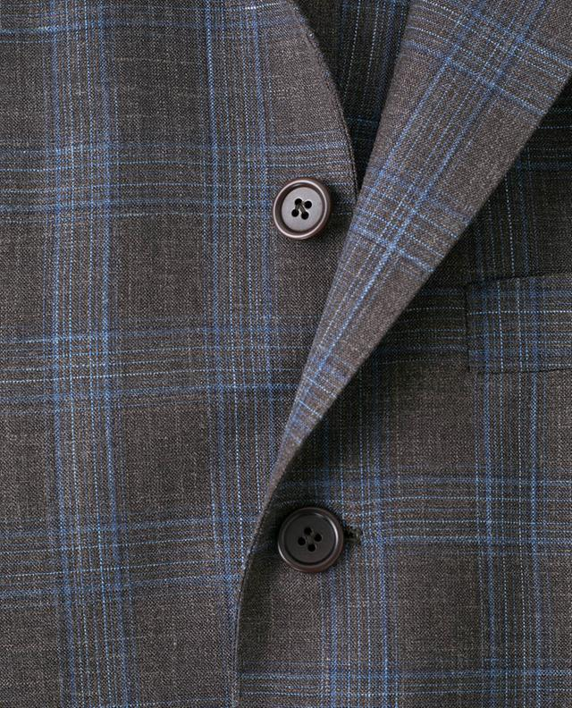 Check virgin wool, silk and linen blazer LUIGI BORRELLI