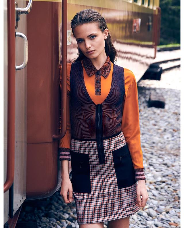 Houndstooth printed short dress with neoprene details M MISSONI