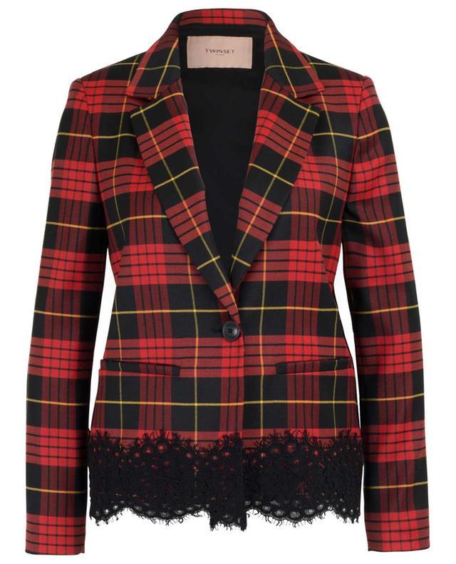 Lace embellished tartan print blazer TWINSET