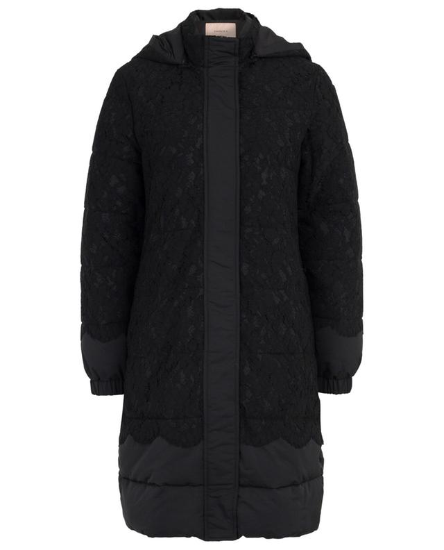 Guipure long hooded down jacket TWINSET